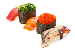 Set of sushi roll Japanese food menu in restaurant, isolated on Stock Photography
