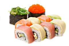 Set of sushi roll Japanese food menu in restaurant. Stock Image