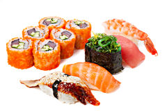Set of sushi roll Japanese food menu in restaurant. Stock Photo