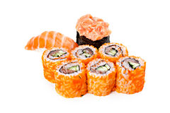 Set of sushi roll Japanese food menu in restaurant. Royalty Free Stock Images
