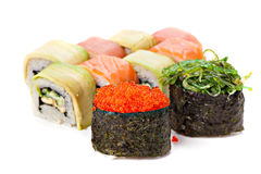 Set of sushi roll Japanese food menu in restaurant. Stock Photography