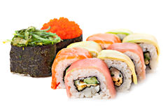 Set of sushi roll Japanese food menu in restaurant. Royalty Free Stock Image