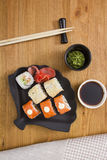 Set of sushi and rolls Stock Photos