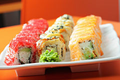 Set of sushi rolls on the cafe table Stock Image