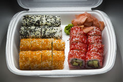 Set of sushi rolls on carrying out Royalty Free Stock Photos