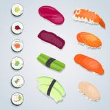 Set of sushi rolls. The different kinds of sushi on gray background. Vector Illustration stock illustration