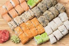 Set sushi rolls, ginger and wasabi Stock Photo