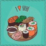 Set of sushi rolls Gunkan and Maki Stock Photo