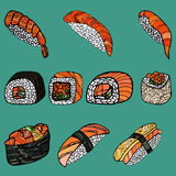 Set of sushi rolls. Japanese food. Hand drawn vector illustratio Royalty Free Stock Photos