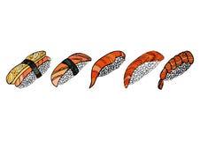 Set of sushi rolls. Japanese food. Hand drawn vector illustratio Royalty Free Stock Photo