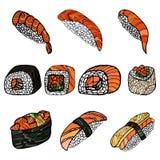 Set of sushi rolls. Japanese food.Hand drawn vector illustration Royalty Free Stock Photos