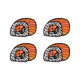 Set of sushi rolls. Japanese food. Hand drawn vector Stock Photography