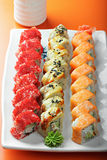 Set of sushi rolls and saucer Stock Image