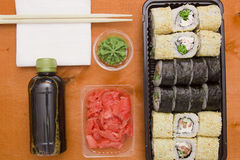 Set of sushi and rolls Royalty Free Stock Image