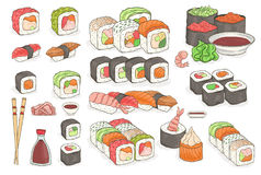 Set of sushi, rolls, wasabi, soy sauce, ginger, chopsticks. Traditional japanese seafood dishes. Hand drawn elements for Stock Photography