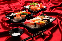 Set of sushi and salmon sashimi Stock Photo