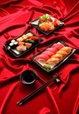 Set of sushi and salmon sashimi Stock Photo