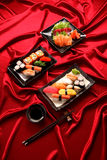 Set of sushi and salmon sashimi Royalty Free Stock Photo