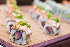 Set of sushi and sashimi, japanese food. Set of variety sushi and sashimi, japanese food royalty free stock photos