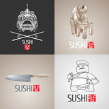 Set of sushi vector template logo, icon, symbol. Isolated design element Royalty Free Stock Images