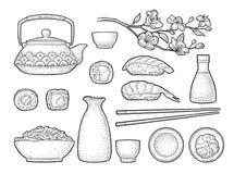 Set Sushi. Vintage black vector engraving isolated on white background. Set Sushi. Chopsticks, wasabi, nigiri, rolls, board, soy sauce, cup, bottle, bowl vector illustration