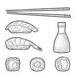 Set Sushi. Vintage black vector engraving. Set Sushi. Chopsticks, wasabi, nigiri, rolls, soy sauce in glass bottle. Isolated on white background. Vintage black stock illustration