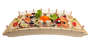 Set of sushi on wooden stand Royalty Free Stock Photo