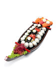 Set of sushi on wooden stand Stock Photo