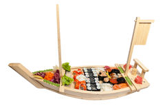 Set of sushi on wooden stand Royalty Free Stock Photography