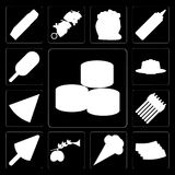 Set suszi, bekon, lody, oliwki, asparagus, pizza, galareta, Ilustracja Wektor