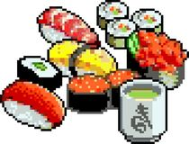 Set suszi i rolek ikony w pikslu projektuje Obraz Stock