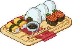 Set suszi i rolek ikony w pikslu projektuje Zdjęcia Stock