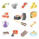 Set suszi, makaron, ciastka, ziarna, pieczarki, Apple, Teapot, T ilustracja wektor