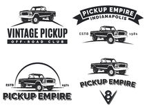 Set of suv pickup car vector emblems, labels and logos. Offroad extreme pickup design elements, 4x4 vehicle illustration Royalty Free Stock Images