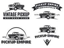 Set of suv pickup car vector emblems, labels and logos. Royalty Free Stock Images