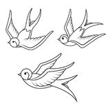 Set of swallow tattoo templates isolated on white background. Bi Stock Image