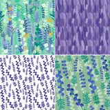 Set of swamless decorative floral patterns with aromatic herbs Stock Photo