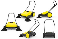 Set sweeper harvester. Isolated background. 3D Graphic Stock Image