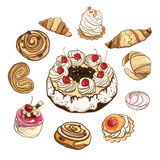 Set of sweet buns and cakes. Vector illustration. Stock Photos