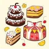 Set of  sweet cakes. Set of cartoon sweet cakes Royalty Free Stock Photo