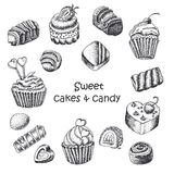 Set of  sweet cakes and sweets Stock Photo