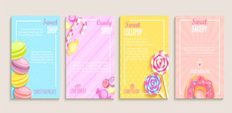 Set of sweet, candy, bakery shops flyers. Set of sweet, candy and bakery shops flyers,banners.Collection of pages for kids menu,caffee,posters.Pastry,macaroons royalty free illustration