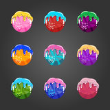 Set of sweet cartoon button Stock Images