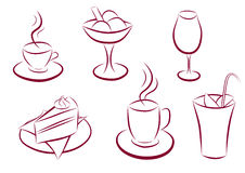 Set of sweet and coffee icons Stock Images