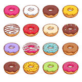 Set of sweet colorful donuts. Royalty Free Stock Photos