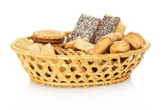 Set of sweet cookies in the wattled basket Royalty Free Stock Photos