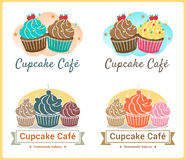 Set of sweet cupcake bakery badge label and logo design Royalty Free Stock Photography