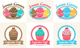 Set of sweet cupcake bakery badge label and logo design Stock Image