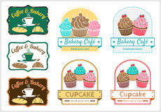 Set of sweet cupcake bakery badge label vector Royalty Free Stock Photography
