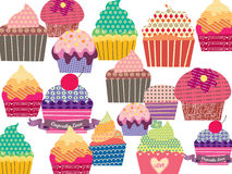 Set of sweet cupcakes. Different cupcakes in patterns. Suitable for  paper goods, scrapbooking, digital collage and invitations Royalty Free Stock Photos